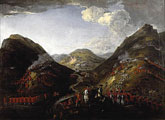 historic painting of the battle of Glen Shiel
