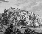 old etching showing Borve Castle