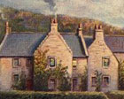 painting of Tongue House with clan shield