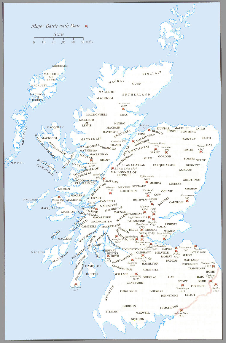 Scottish Clans, lists, maps, history and Clan Castle paintings