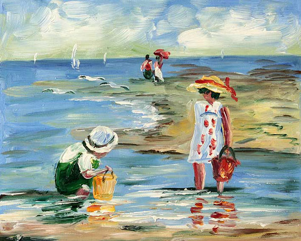 oil painting of children playing with their buckets