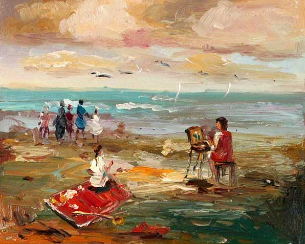 impression of artist on the beach painting the view